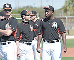Ichiro Suzuki, Marcell Ozuna (Marlins),<br /> FEBRUARY 25, 2014 - MLB :<br /> Ichiro Suzuki of the Miami Marlins talks with teammate Marcell Ozuna during the Miami Marlins spring training camp in Jupiter, Florida, United States. (Photo by AFLO)