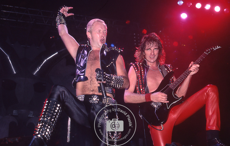 Rob Halford of Judas Priest performing live in concert at New Haven Coliseum, Ct, USA March 22, 1984