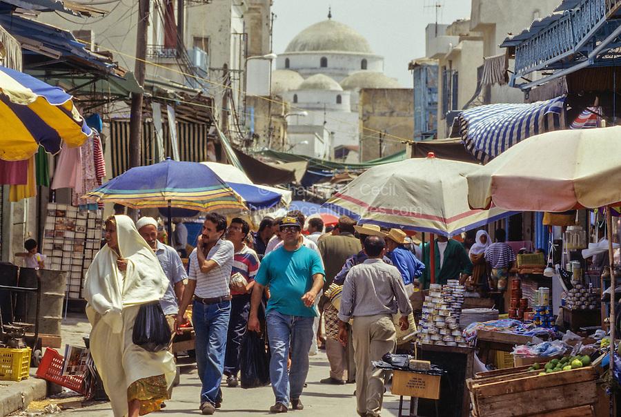 Tunis, Tunisia.  Street Scene leading to Sidi Mehrez Mosque, Tunis Medina.