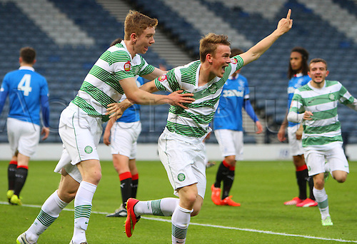 21.05.2015.  Glasgow, Scotland. Little Big Shot Scottish Youth Cup Final. Celtic versus Rangers.  Sam Wardrop celebrates his goal