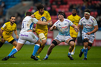 24th November 2019; AJ Bell Stadium, Salford, Lancashire, England; European Champions Cup Rugby, Sale Sharks versus La Rochelle; Romain Sazy of La Rochelle is tackled by Coenie Oosthuizen of Sale Sharks - Editorial Use