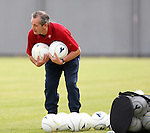 George Burley lays out the balls at Scotland training
