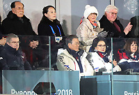 Thomas Bach (l), German IOC president, and South Korean President Moon Jae (2.l) alongside his wife Kim Jung-sook, German President Frank-Walter Steinmeier and his wife Elke Buedenbender (back row) watch the opening ceremony of the Winter Olympics in Pyeongchang, South Korea, 9 February 2018. Kim Yong Nam (c), the North Korean ceremonial head of state, and Kim Yo Jong, the younger sister of North Korea's leader, sit in the top left corner. Photo: Michael Kappeler/dpa /MediaPunch ***FOR USA ONLY***