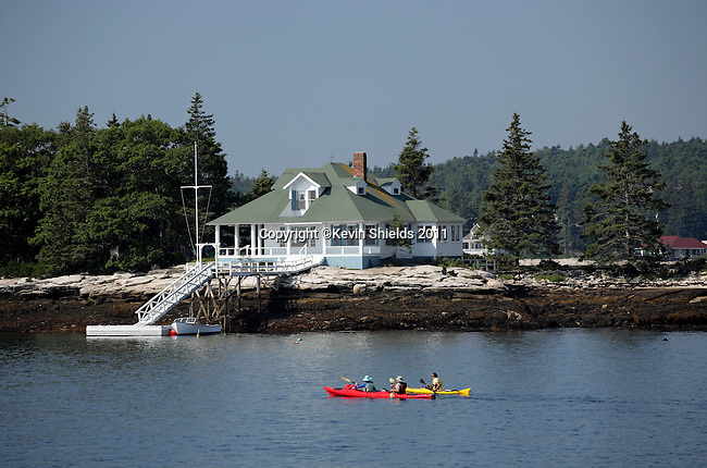 Kayakers in Boothbay Harbor, Lincoln County, Maine, USA
