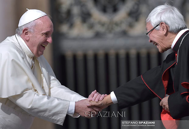 Pope Francis  cardinale Joseph Zen during his weekly general audience in St. Peter square at the Vatican, Wednesday.September 9, 2015.