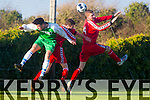 In Action Kerry's Ryan Downey and Cork's Ger Rice, Vinny Lonergan at  the Oscar Traynor Cup Group 4 match Kerry DL against Cork in Mounthawk Park on Sunday