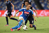 Stanislav Lobotka of SSC Napoli and Marco Parolo of SS Lazio compete for the ball<br /> during the Serie A football match between SSC  Napoli and SS Lazio at stadio San Paolo in Naples ( Italy ), August 01st, 2020. Play resumes behind closed doors following the outbreak of the coronavirus disease. <br /> Photo Cesare Purini / Insidefoto