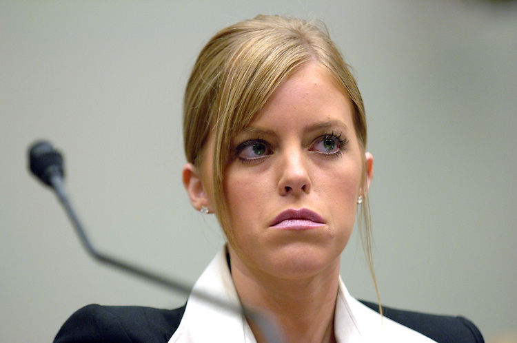 Jamie Leigh Jones, who was allegedly drugged and raped by her co-workers in Iraq, waits to testify with her Congressman, Rep. Ted Poe, R-Texas, before a House Subcommittee on Crime, Terrorism, and Homeland Security hearing.  Jones was an employee of Kellogg Brown and Root (KBR) in Baghdad, when the incident occurred in July 2005, when she was 20.