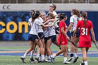 BERKELEY, CA - March 20, 2016: The Cal Bears Women's Lacrosse team vs the San Diego St. Aztecs at California Memorial Stadium. Final score, Cal Bears  10, San Diego State Aztecs 9.