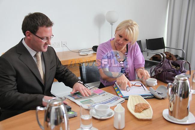 European Commissioner Margot Wallstrom speaking to Drogheda Leader News Editor Gordon Hatch..Photo: Fran Caffrey/www.newsfile.ie..