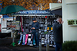 A merchandise seller at his stall awaiting the arrival of fans before West Bromwich Albion take on Leeds United in a SkyBet Championship fixture at the Hawthorns. Formed in 1878, the home team were relegated from the English Premier League the previous season and were aiming to close the gap on the visitors at the top of the table. Albion won the match 4-1 watched by a near-capacity crowd of 25,661.