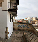 Requena-Valencia-Spain, January 09, 2018; <br /> view from the historic centre to the modern part of town<br /> Photo © HorstWagner.eu