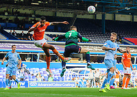 Blackpool's Curtis Tilt vies for possession with Coventry City's Marko Marosi<br /> <br /> Photographer Chris Vaughan/CameraSport<br /> <br /> The EFL Sky Bet League One - Coventry City v Blackpool - Saturday 7th September 2019 - St Andrew's - Birmingham<br /> <br /> World Copyright © 2019 CameraSport. All rights reserved. 43 Linden Ave. Countesthorpe. Leicester. England. LE8 5PG - Tel: +44 (0) 116 277 4147 - admin@camerasport.com - www.camerasport.com