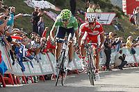 Alejandro Valverde and Joaquin Purito Rodriguez during the stage of La Vuelta 2012 between La Robla and Lagos de Covadonga.September 2,2012. (ALTERPHOTOS/Acero) /NortePhoto.com<br /> <br /> **CREDITO*OBLIGATORIO** <br /> *No*Venta*A*Terceros*<br /> *No*Sale*So*third*<br /> *** No*Se*Permite*Hacer*Archivo**<br /> *No*Sale*So*third*