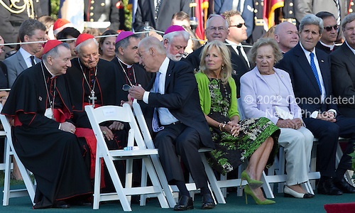 United States Vice President Joe Biden speaks with Catholic Cardinals as President Barack Obama hosts an Official State Welcome ceremony for Pope Francis on the South Lawn of the White House in Washington, DC on Wednesday, September 23, 2015. With Biden are Dr. Jill Biden, Ethel Kennedy and Secretary of State John Kerry <br /> Credit: Chris Kleponis / CNP