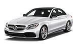 2016 Mercedes Benz C-Class AMG-C63-S 4 Door Sedan Angular Front stock photos of front three quarter view