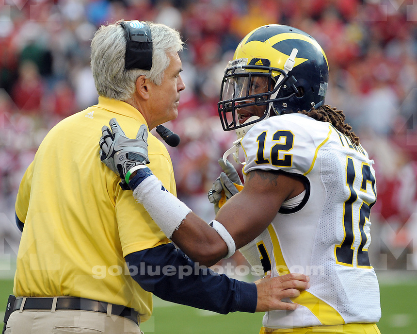 The University of Michigan football team defeats the University of Indiana 42-35 at Memorial Stadium in Bloomington, IN, on October 2, 2010.