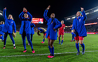 CARSON, CA - FEBRUARY 7: Ashlyn Harris #12 , Ali Krieger #11, Crystal Dunn #19 and Julie Ertz #8 of the United States celebrate during a game between Mexico and USWNT at Dignity Health Sports Park on February 7, 2020 in Carson, California.