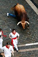 Third San Fermin bull running.