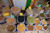 Dryedspices, beans, dried pulses, nuts at market stall, Tenerife, Canary Islands.
