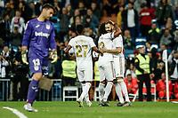 30th October 2019; Estadio Santiago Bernabeu, Madrid, Spain; La Liga Football, Real Madrid versus Leganes; Karim Benzema (Real Madrid)  celebrates his goal which made it 4-0 in the 69th minute  - Editorial Use