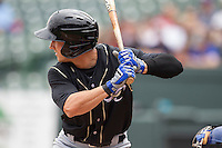 Omaha Storm Chasers outfielder David Lough #7 at bat against the Round Rock Express in the Pacific Coast League baseball game on April 7, 2013 at the Dell Diamond in Round Rock, Texas. Omaha beat Round Rock 5-2, handing the Express their first loss of the season. (Andrew Woolley/Four Seam Images).
