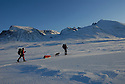 Skiing in the mountain,Sarek,