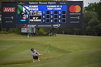Seamus Power (IRL) hits from the trap on 1 during Round 2 of the Valero Texas Open, AT&amp;T Oaks Course, TPC San Antonio, San Antonio, Texas, USA. 4/20/2018.<br /> Picture: Golffile | Ken Murray<br /> <br /> <br /> All photo usage must carry mandatory copyright credit (&copy; Golffile | Ken Murray)