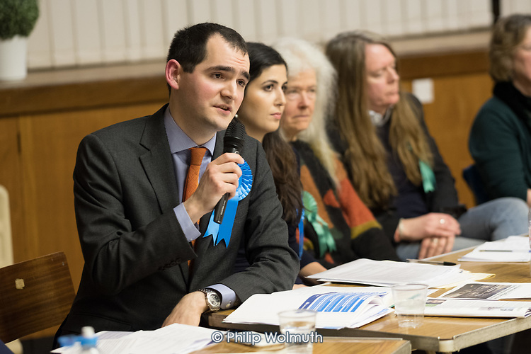 Hustings with Conservative David Brescia.  Conservative, Labour, Liberal Democrats and Green local election candidates for West Hampstead and Fortune Green wards, Camden, London