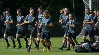 20170717 - RIJEN , NETHERLANDS :  illustration picture shows the Belgian team during warming up of a training session of the Belgian national women's soccer team Red Flames on the pitch of Rijen , on Tuesday 18 July 2017 in Rijen . The Red Flames are at the Women's European Championship 2017 in the Netherlands. PHOTO SPORTPIX.BE | DAVID CATRY