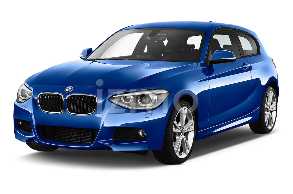 Front three quarter view of a 2012 - 2014 BMW 1-Series 118d M Sport 3 Door Hatchback 2WD.
