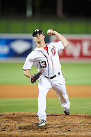 Glendale Desert Dogs pitcher Nick Lee (13), of the Washington Nationals organization, during a game against the Salt River Rafters on October 19, 2016 at Camelback Ranch in Glendale, Arizona.  Salt River defeated Glendale 4-2.  (Mike Janes/Four Seam Images)