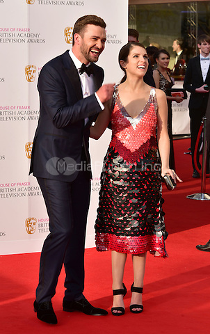 LONDON, ENGLAND - MAY 08: Justin Timberlake, Anna Kendrick at he British Academy (BAFTA) Television Awards 2016, Royal Festival Hall, Belvedere Road, London, England, UK, on Sunday 08 May 2016.<br /> CAP/JOR<br /> &copy;JOR/Capital Pictures /MediaPunch ***NORTH AMERICA AND SOUTH AMERICA ONLY***