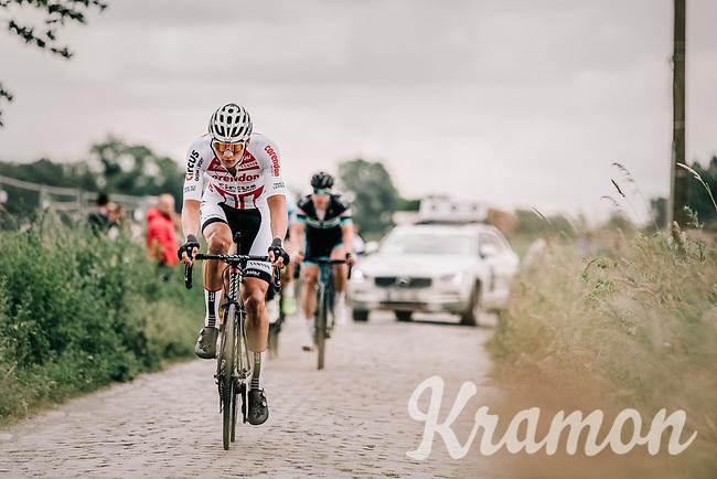 an impressive Mathieu Van Der Poel (NED/Corendon Circus) riding the cobbles.<br /> <br /> 2nd Elfstedenronde 2018<br /> 1 day race: Brugge - Brugge 196.3km