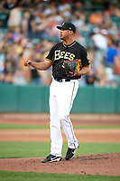 Deolis Guerra (51) of the Salt Lake Bees delivers a pitch to the plate against the Reno Aces in Pacific Coast League action at Smith's Ballpark on June 15, 2017 in Salt Lake City, Utah. The Aces defeated the Bees 13-5. (Stephen Smith/Four Seam Images)