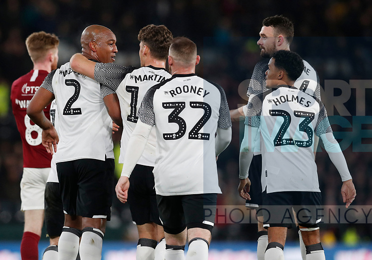 Andre Wisdom of Derby County (l) celebrates scoring the first goal during the FA Cup match at the Pride Park Stadium, Derby. Picture date: 4th February 2020. Picture credit should read: Darren Staples/Sportimage