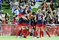 Boyds, MD - Saturday Sept. 03, 2016: Megan Oyster, Joanna Lohman, Katie Stengel celebrates scoring during a regular season National Women's Soccer League (NWSL) match between the Washington Spirit and the Western New York Flash at Maureen Hendricks Field, Maryland SoccerPlex.