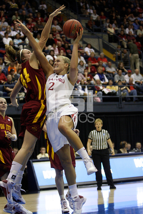 BERKELEY, CA - MARCH 30: Jayne Appel scoring layup during Stanford's 74-53 win against the Iowa State Cyclones on March 30, 2009 at Haas Pavilion in Berkeley, California.