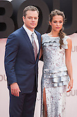 London, UK. 11 July 2016. Actors Matt Damon and Alicia Vikander. Red carpet arrivals for the European Premiere of the Universal movie Jason Bourne (2016) in London's Leicester Square.