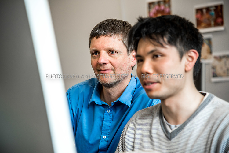 4/19/2017&mdash; Seattle, WA, USA<br /> <br /> University of Washington professor, Zoran Popovic&rsquo;s lab where students and developers are helping him build the videogame Mozak. <br /> <br /> Here:  Popvic works with developer Roy Szeto, 27, (right) on the Mozak project.<br /> <br /> The game has been created by a team at the University of Washington in Seattle led by professor Popovic and uses the skills of novice players to model brain cells with a much higher degree of accuracy than conventional computer-based modeling tools. Mozak is first collaborating with the Allen Institute for Brain Science in Seattle on the effort, but there will eventually be other participants from academia that use Mozak. <br /> <br /> Photograph by Stuart Isett. &copy;2017 Stuart Isett. All rights reserved.