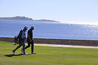 Jon Rahm (ESP) on the 18th hole at Pebble Beach course during Friday's Round 2 of the 2018 AT&amp;T Pebble Beach Pro-Am, held over 3 courses Pebble Beach, Spyglass Hill and Monterey, California, USA. 9th February 2018.<br /> Picture: Eoin Clarke | Golffile<br /> <br /> <br /> All photos usage must carry mandatory copyright credit (&copy; Golffile | Eoin Clarke)