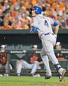 New York Mets shortstop Wilmer Flores (4) watches the flight of his seventh inning solo home run against the Baltimore Orioles at Oriole Park at Camden Yards in Baltimore, Maryland on Wednesday, August 19, 2015.  The Orioles won the game 5 - 4.<br /> Credit: Ron Sachs / CNP<br /> (RESTRICTION: NO New York or New Jersey Newspapers or newspapers within a 75 mile radius of New York City)
