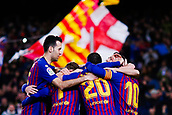 30th January 2019, Camp Nou, Barcelona, Spain; Copa del Rey football, quarter final, second leg, Barcelona versus Sevilla; Sergi Roberto, Luis Suarez, Philippe Coutinho, Lionel Messi of FC Barcelona and Sergio Busquets of FC Barcelona celebrates scoring his side's 4th goal in minute 58