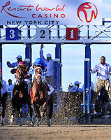The start of the Wood Memorial at Aqueduct Racetrack in Ozone Park, New York on Wood Memorial Day on April 7, 2012