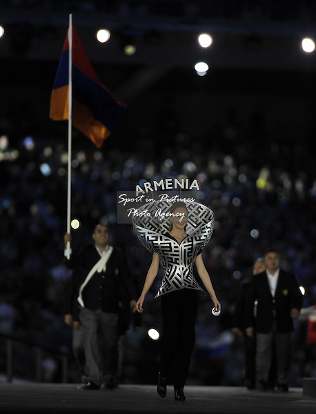 Big boos in the stadium when Armenia arrive. Opening Ceremony. Olympic Stadium. Baku. Azerbaijan. Baku2015. 1st European Games. 12/06/2015. MANDATORY CREDIT Garry Bowden/SIPPA - NO UNAUTHORISED USE - +447837 394578