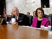 United States Senate Judiciary Committee Chairman Chuck Grassley (Republican of Iowa) answers opposition questions prior to Judge Brett Kavanaugh giving testimony before the committee on his nomination as Associate Justice of the US Supreme Court to replace the retiring Justice Anthony Kennedy on Capitol Hill in Washington, DC on Tuesday, September 4, 2018.  At right is US Senate Judiciary Committee ranking member Dianne Feinstein (Democrat of California).<br /> Credit: Ron Sachs / CNP<br /> (RESTRICTION: NO New York or New Jersey Newspapers or newspapers within a 75 mile radius of New York City)