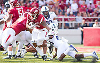 TCU Horned Frogs vs Arkansas Razorbacks –Devwah Whaley (21) runs the ball against the Horned Frogs as Julius Lewis (24) tries to bring him down at Donald W. Reynolds Razorback Stadium, University of Arkansas,  Fayetteville, AR, on Saturday, September 9, 2017,  © 2017 David Beach