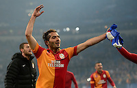 FUSSBALL  CHAMPIONS LEAGUE  ACHTELFINALE  Rueckspiel  2012/2013      FC Schalke 04 - Galatasaray Istanbul                   12.03.2013 Hamit Altintop (Galatasaray Istanbul) jubelt nach dem Abpfiff