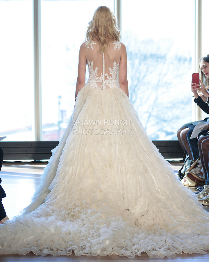 """Model Milou walks runway in a """"Bonnie"""" bridal gown from the Rivini Spring Summer 2017 bridal collection by Rita Vinieris at The Standard Highline Room, during New York Bridal Fashion Week on April 15, 2016."""