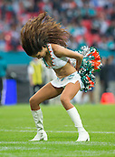 04.10.2015. Wembley Stadium, London, England. NFL International Series. Miami Dolphins versus New York Jets. Miami Dolphins Cheerleader performs to the crowds during play.